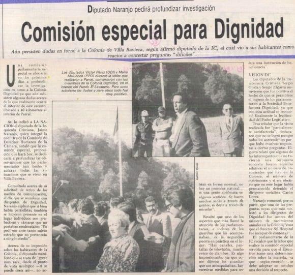 1990 octubre 09 – La Nación – Diputado Naranjo pedirá profundizar investigación, Comisión especial para Dignidad