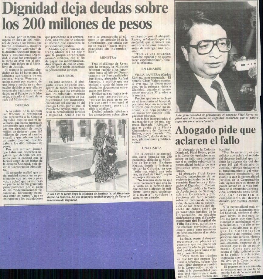 1991 febrero 23 – La Tercera – Dignidad deja deudas sobre los 200 millones de pesos