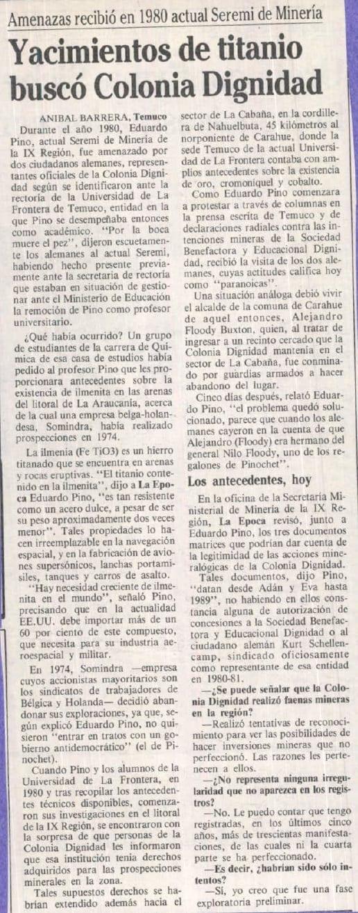 1991 marzo 01 – La Época – Amenazas recibió en 1980 actual seremi de minería. Yacimiento de titanio buscó Colonia Dignidad
