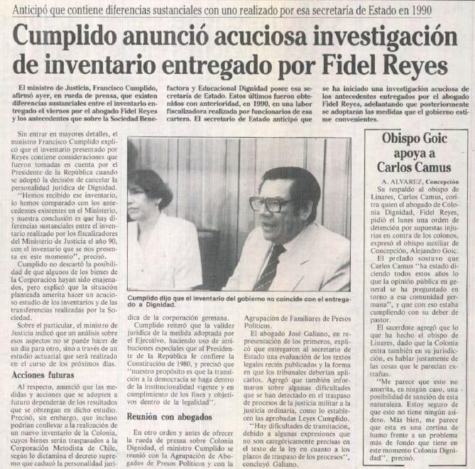 1991 octubre 27 –La Época – Cumplido anunció acuciosa investigación de inventario por Fidel Reyes