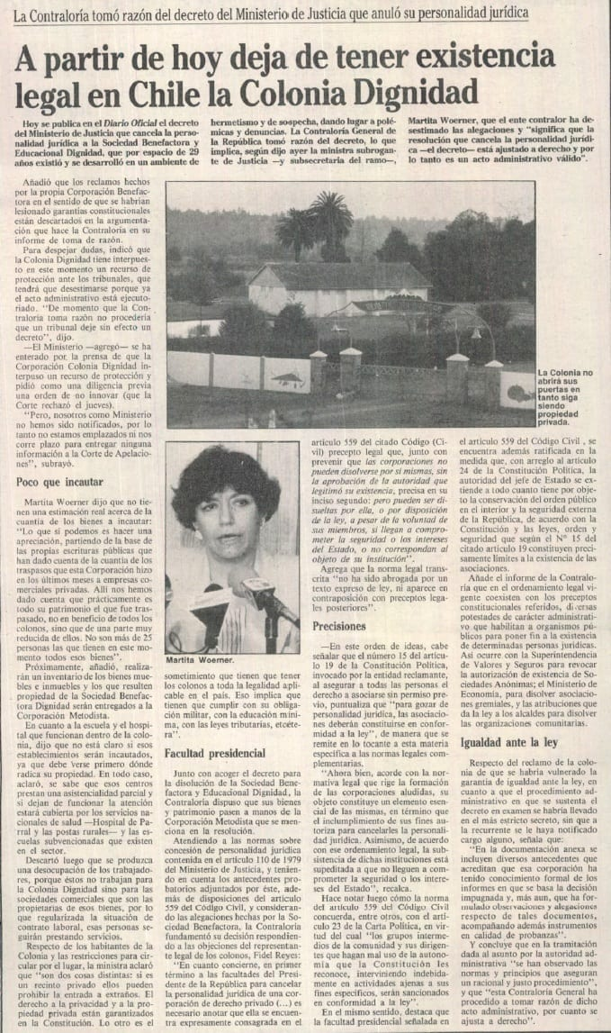 1991 febrero 16 - La Época - A partir de hoy deja de tener existencia legal en Chile la Colonia Dignidad