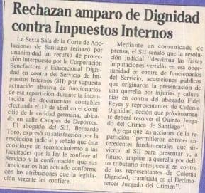 1991 junio 26 - La Época - Rechazan amparo de Dignidad contra Impuestos Internos