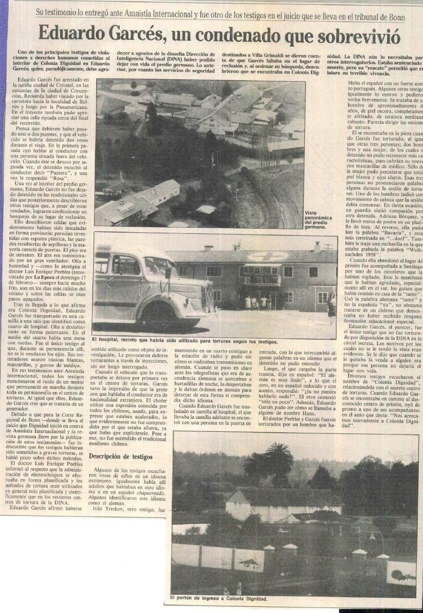 1991 febrero 23 - La Época - Eduardo Garcés, un condenado que sobrevivió